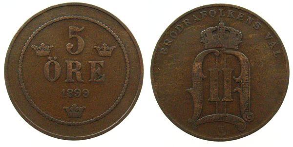 5 Öre 1899 Schweden Br Oscar II ss-
