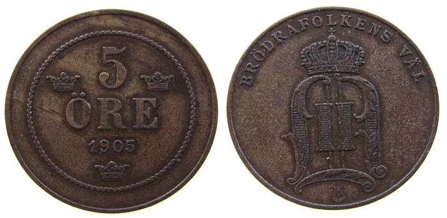 5 Öre 1905 Schweden Br Oscar II ss+