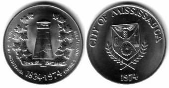 1 $ 1974 Kanada KN Mississauga,Port Credit, Wachturm im Blätterkranz, Wappen /32 MM vz-unc