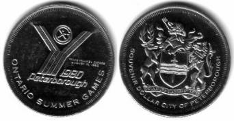 1 $ 1980 Kanada Ni Ontario,Petersborough, Logo - Sommer Spiele, Wappen /33 MM vz-unc
