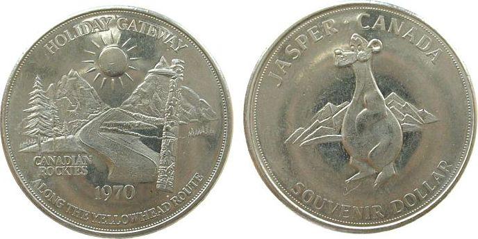 1 $ 1970 Kanada Ni Jaspers, Kanadische Rockies, Comik-Bär /32 MM vz-unc