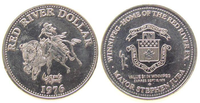 1 $ 1976 Kanada Ni Winnipeg, Red River Dollar, Reiter, Beizeichen Fackelträger /33 MM vz
