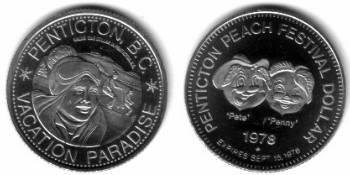 1 $ 1978 Kanada Ni British Columbia,Penticton, Strand, Peach Festival /33 MM vz-unc