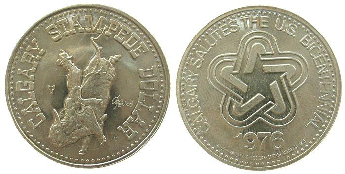 1 $ 1975 Kanada KN Calgery,Bullenreiten, Beizeichen Sattel, Logo /33 MM vz-unc