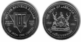 1 $ 1986 Kanada Ni Labrador City,Logo, Wappen mit 2 Rentieren /33 MM vz-unc