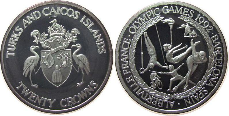 20 Crowns 1992 Turks+Caicos Ag Olympiade div. Sportarten, etwas angelaufen pp