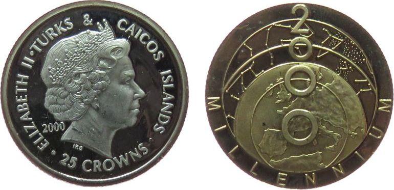 2 Crowns 2000 Turks+Caicos Ag Millennium 2000, teilvergoldet, winziger Fleck pp