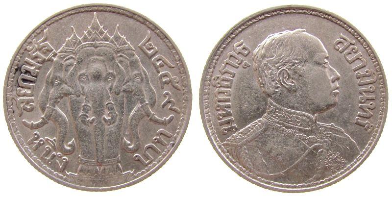 1 Baht 1916 Thailand Ag Rama VI vz