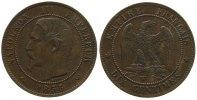 Frankreich 10 Centimes Br Napoleon III, Mzz: W, Anker, Gad.248