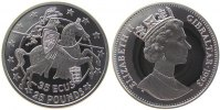 Gibraltar 25 Pfund/35 Ecu Ag Reiter nach rechts, Wappen Stuttgart, org.Box m. Zert.,Schön 114.2