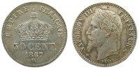 Frankreich 50 Centimes Ag Napoleon III,Mzz: BB (Strasbourg), feiner Kratzer