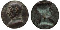 Italien ovale Plakette Bronzeguß Paganotti Alesander de, ca. 80,5 x 84 MM, mit Aufhängevorrichtung