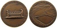Gelegenheitsmedaillen Medaille Bronzeguß Mosel - Eröffnungsjahr der Großschiffahrt, römische Galeere / Staustuf