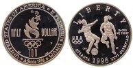 USA 1/2 Dollar KN Damenfußball, Atlanta, S, ohne Box und ohne Zertifikat, leicht fleckig