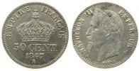 Frankreich 50 Centimes Ag Napoleon III, A (Paris), feine Kratzer