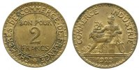 Frankreich 2 Francs AlBr fleckig-spotted