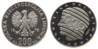 Polen 200 Zlotych Ag Olympiade, Probe, Kopf mit den Olympischen Ringen, minimale kleine Flecken