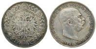 Österreich 5 Kronen Ag Franz Joseph I, großes Portait, J385, kleine Randfehler