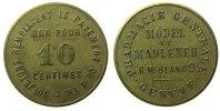 Schweiz 10 Centimes Messing Pharmacie Centrale - Geneve (Genf), ca. 25,5 MM