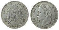 Frankreich 5 Francs Ag Napoleon III, BB (Straßburg), Randfehler