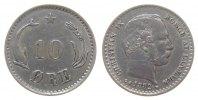 Dänemark 10 Öre Ag Christian IX, seltener