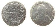 Rußland 1 Grivennik Ag Katharina II, St.Petersburg, gereinigt, zaponiert, Uzenikov 991, 10 Kopeken