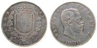 Italien 5 Lire Ag Emanuel II, R (Rom), Randstöße