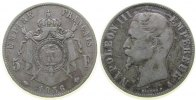 Frankreich 5 Francs Ag Napoleon III, A (Paris), kleiner Randfehler