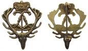 vor 1914 Hutabzeichen vergoldet Ludwig VIII - Jagd, Hessen-Darmstadt, gekröntes Doppel-L im Hirschgewe