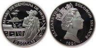 Salomonen 10 Dollar Ag Alvaro de Mendana de Neyra, Entdecker der Solomonen
