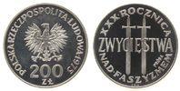 Polen 200 Zlotych Ag Faschismus, zwei Schwerter, Probe