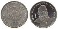 Polen 100 Zlotych Ag Kochanowski, Patina, Probe, kleine Flecken
