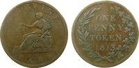 Großbritannien 1 Penny Token Ku Strabane,vertiefter, mittiger Riffelrand / center slanted reeding, Durchmesse