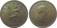 Großbritannien 1 Penny Ku Georg III, Seaby 3780, incuse Haarlocke, K unter der Büste, Soho auf dem Fels