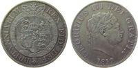 Großbritannien 1/2 Crown Ag Georg III, winziger Randstoß, Patina, kleine Druckstelle
