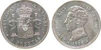 Spanien 2 Pesetas Ag Alfonso XIII, SM-V, 05, winzige Randfehler