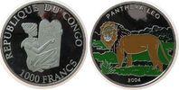 Kongo DR. 1000 Francs Ag Löwe, Farbmünze, fleckig, Handlingsmarken