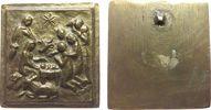 Weihnachtliche Motive Plakette Bronzeguß Krippenszene mit dem Jesuskind und dem Stern von Bethlehem, einseitig,