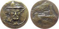 Personen Medaille Bronzeguß Slevogt Max (1868-1932) - auf seinen 50. Todestag, deutscher Maler, Bü
