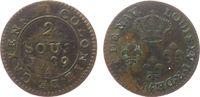 Französisch Guyana 2 Sous Billon Louis XVI, Cayenne, A (Paris), Lecompte 31