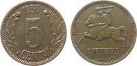 Litauen 5 Centai Br Reiter, feine Kratzer