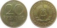20 Pfennig 1981 DDR Messing A, Berlin, Export, etwas fleckig vz-stgl  10,00 EUR  + 8,00 EUR frais d'envoi
