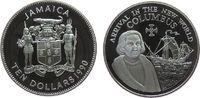 10 Dollar 1990 Jamaika Ag Kolumbus, Ankunft in der Neuen Welt pp  25,00 EUR  zzgl. 3,95 EUR Versand