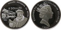 5 Dollar 1994 Salomonen Ag de Neyra, minimal berieben pp  13,50 EUR  zzgl. 3,95 EUR Versand
