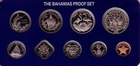 Bahamas 8,06 Dollar div. Original Kursmünzensatz mit Zertifikat, 2+5$ Silber