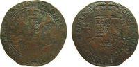 Niederlande Rechenpfennig Kupfer Karl II von Spanien (1665-1700), Brüssel, Finanzkammer, gekrönter mehrfel