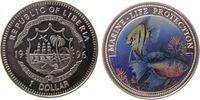 Liberia 1 Dollar KN Skalar und Kampffisch, Farbmünze
