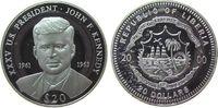 Liberia 20 Dollars Ag Kennedy John F 1961-63, US-Präsident, feine Handlingsmarken