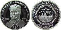 Liberia 20 Dollars Ag Roosevelt Theodor 1901-09, US-Präsident, feine Handlingsmarken