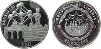 Liberia 20 Dollars Ag Brüssel (Niederlande), Atomium etc., etwas fleckig, feine Handlingsmarken